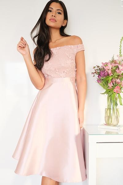 Pink Satin Bardot Skater Dress